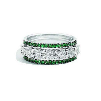 anello con diamanti e smeraldi recarlo