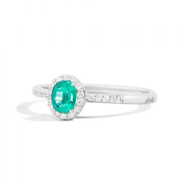 anello oro bianco e smeraldo