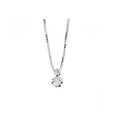 Collana ReCarlo in oro bianco 18kt con diamanti da 0.10ct, collezione Maria Teresa, lunghezza catena 45cm